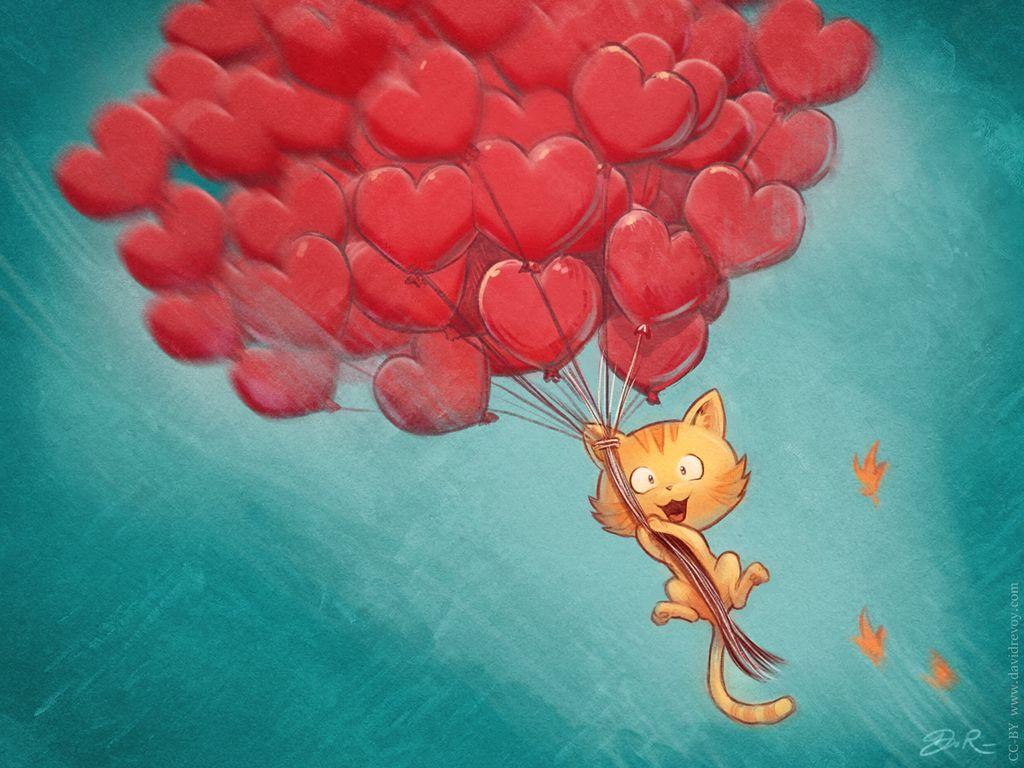 1024x768 Wallpaper cat, balloons, hearts, flight, sky, art