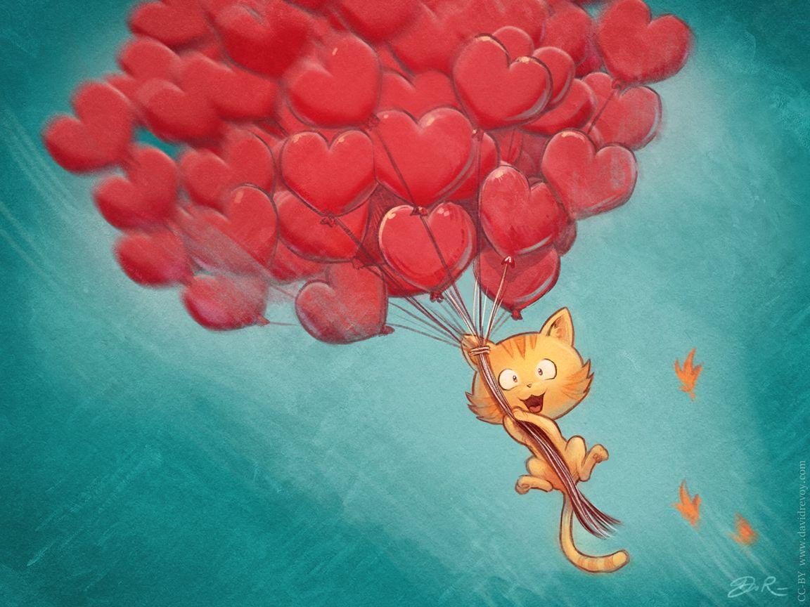 1152x864 Wallpaper cat, balloons, hearts, flight, sky, art