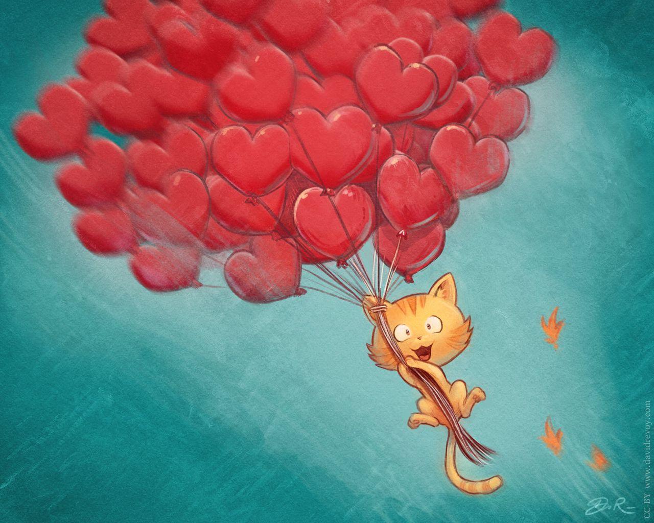 1280x1024 Wallpaper cat, balloons, hearts, flight, sky, art