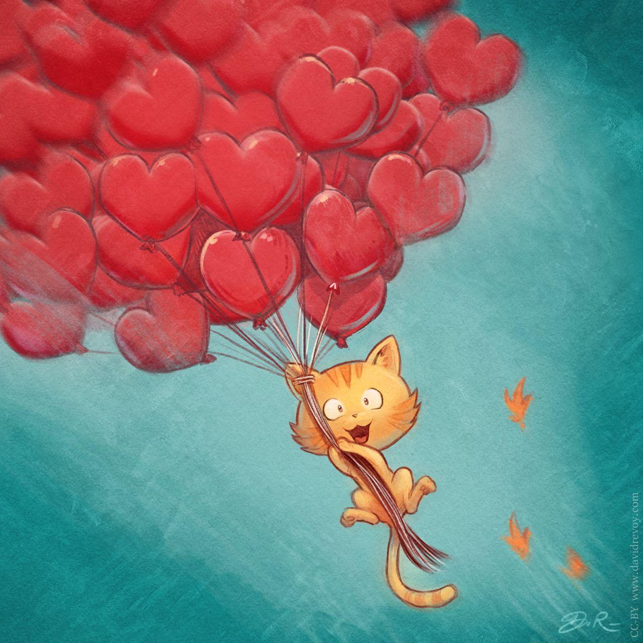 1280x1280 Wallpaper cat, balloons, hearts, flight, sky, art