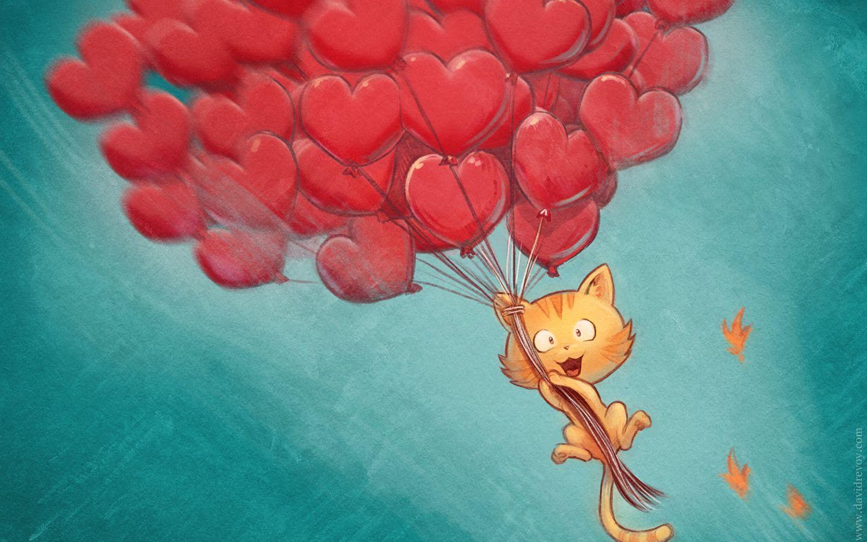 1440x900 Wallpaper cat, balloons, hearts, flight, sky, art