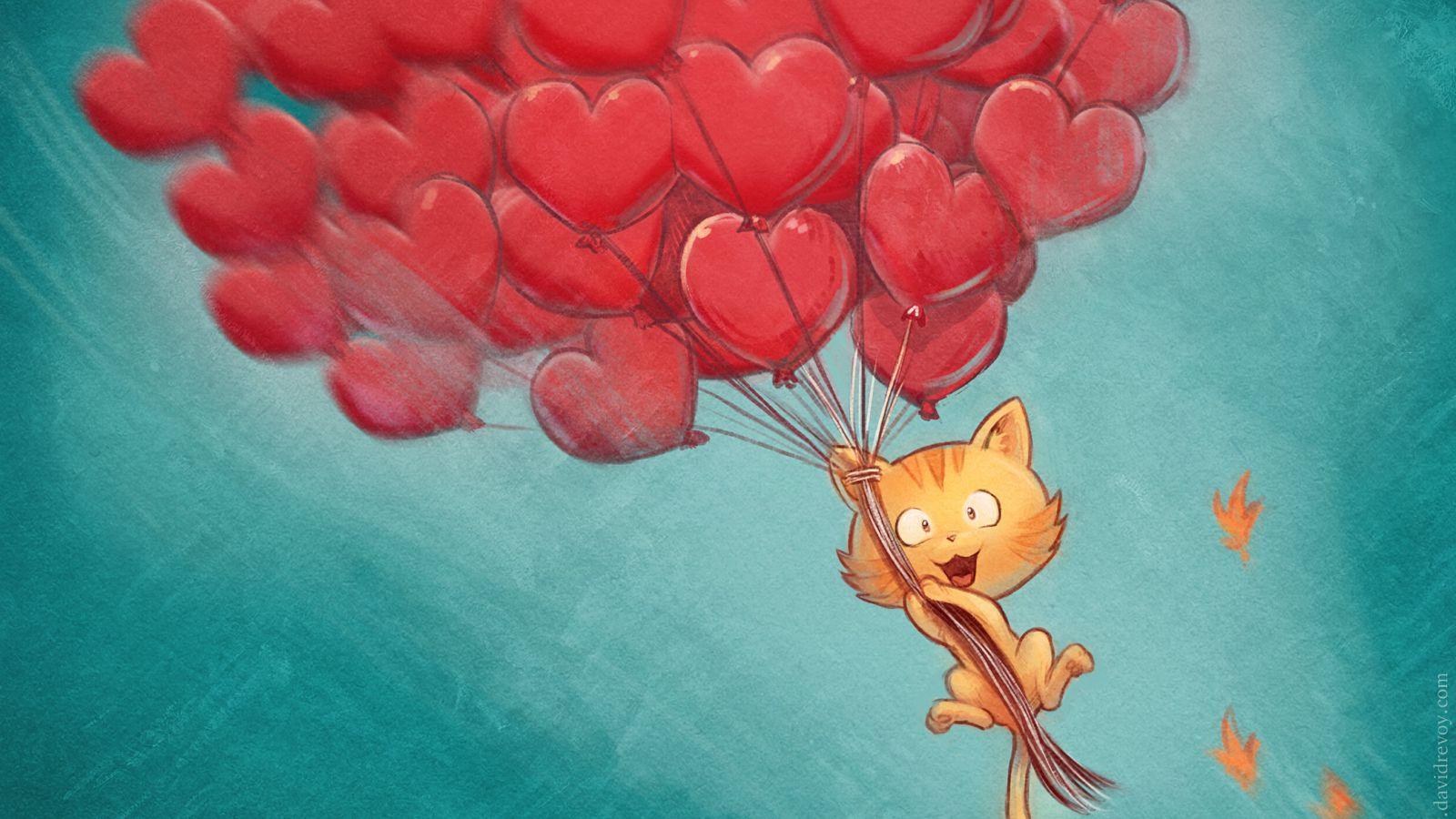 1600x900 Wallpaper cat, balloons, hearts, flight, sky, art