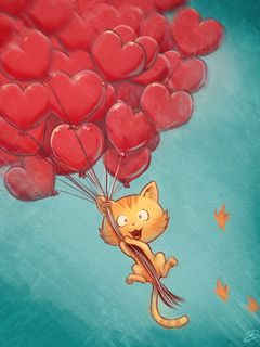 240x320 Wallpaper cat, balloons, hearts, flight, sky, art