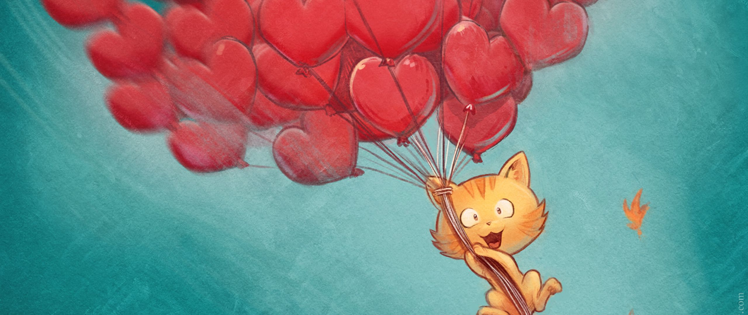 2560x1080 Wallpaper cat, balloons, hearts, flight, sky, art