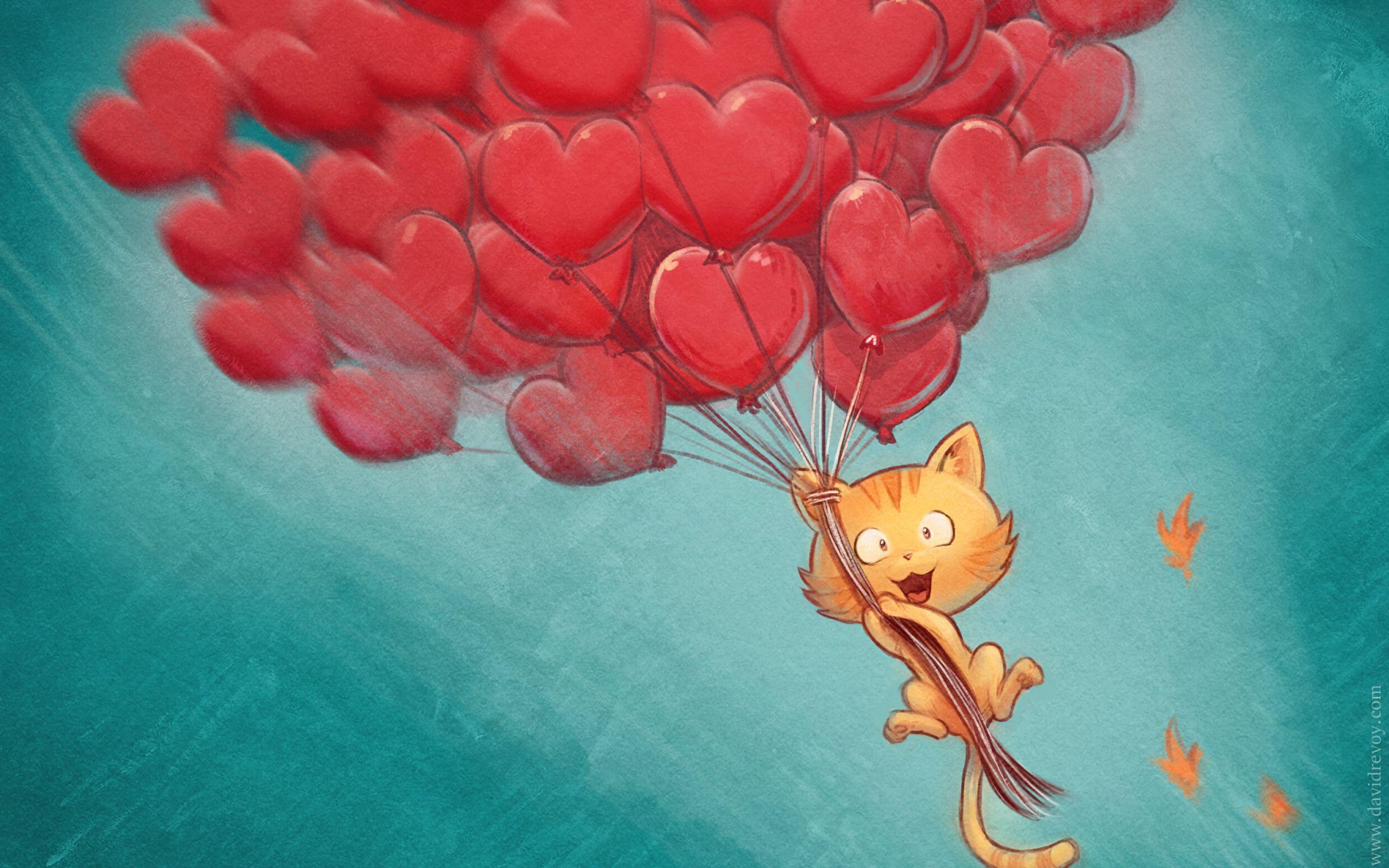 2560x1600 Wallpaper cat, balloons, hearts, flight, sky, art