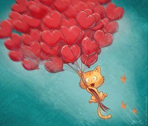 Preview wallpaper cat, balloons, hearts, flight, sky, art