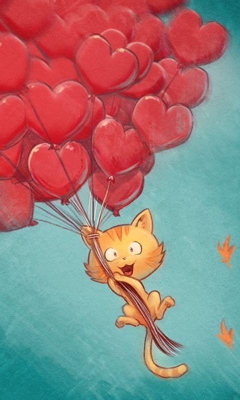 480x800 Wallpaper cat, balloons, hearts, flight, sky, art