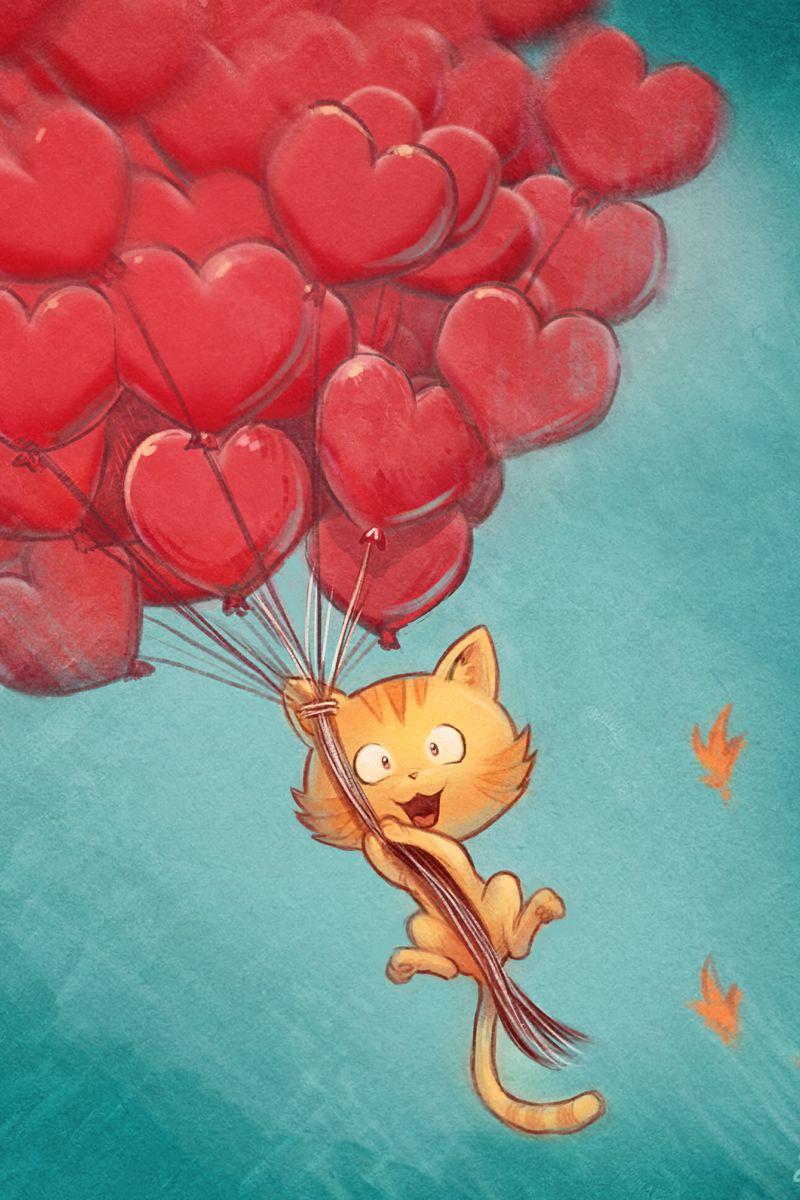 800x1200 Wallpaper cat, balloons, hearts, flight, sky, art