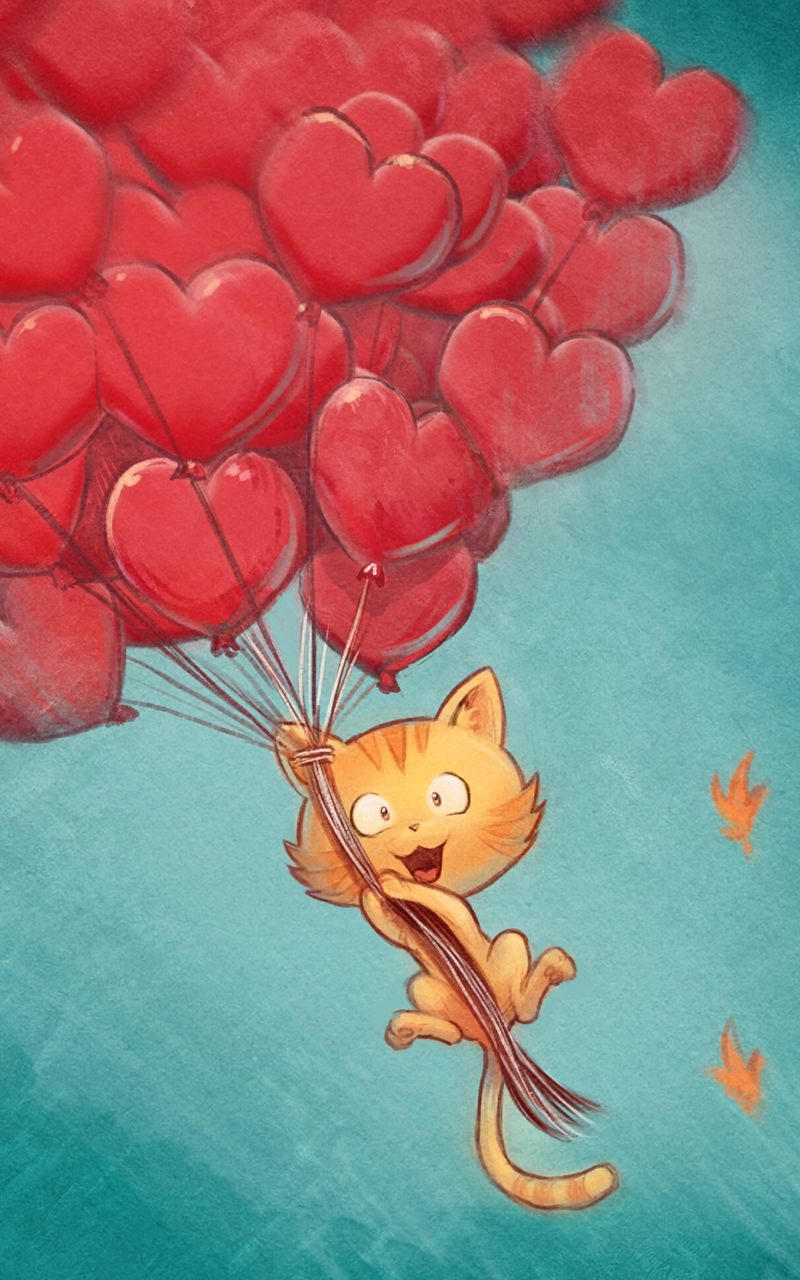 800x1280 Wallpaper cat, balloons, hearts, flight, sky, art