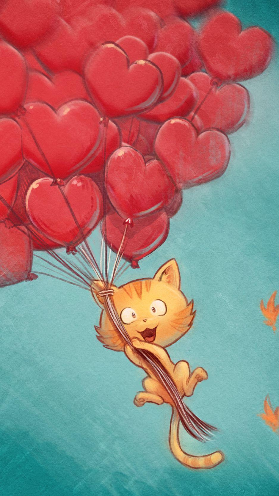 938x1668 Wallpaper cat, balloons, hearts, flight, sky, art