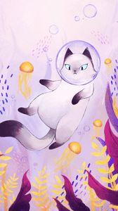 Preview wallpaper cat, bubble, spacesuit, underwater world, art