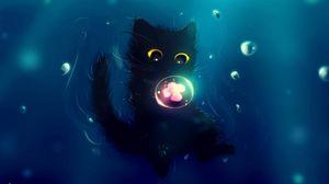 Preview wallpaper cat, cute, ball, flower, art