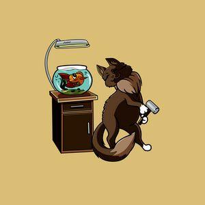 Preview wallpaper cat, fish, aquarium, funny, art, friends