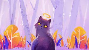 Preview wallpaper cat, halo, art, purple
