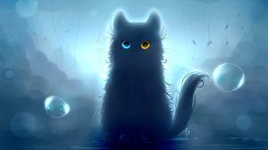 Preview wallpaper cat, heterochromia, black cat, art