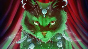 Preview wallpaper cat, magic, art, shaman