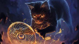 Preview wallpaper cat, talisman, dreamcatcher, feathers, art