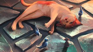 Preview wallpaper cat, mouse, bird, funny, rest