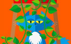 Preview wallpaper cat, pet, leaves, plant, vector, art, cartoon, bright