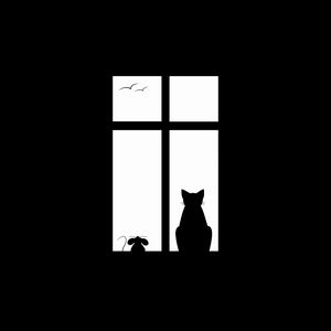 Preview wallpaper cat, picture, window, silhouette