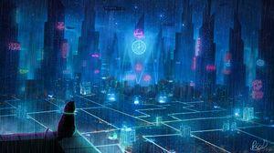 Preview wallpaper cat, roof, city, neon lights, metropolis, future, cyberpunk