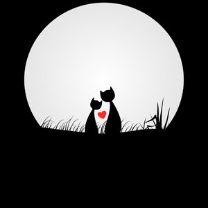 Preview wallpaper cats, love, silhouettes, night, moon