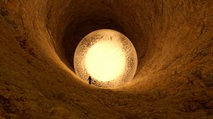Preview wallpaper cave, ball, silhouette, glow, 3d
