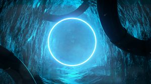Preview wallpaper cave, circle, glow, bright, 3d