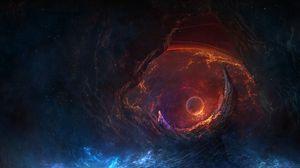 Preview wallpaper cave, planet, glow, smoke, space