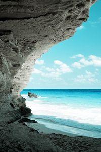 Preview wallpaper cave, sea, coast, rock, paradise