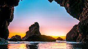 Preview wallpaper cave, tide, stones, sea