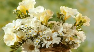 Preview wallpaper chamomile, big, small, flowers, bouquet