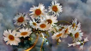 Preview wallpaper chamomile, flowers, bouquets, vase, sky, clouds, background