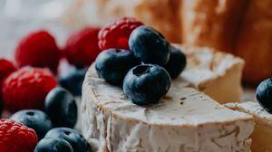 Preview wallpaper cheese, blueberries, raspberries, berries, dessert