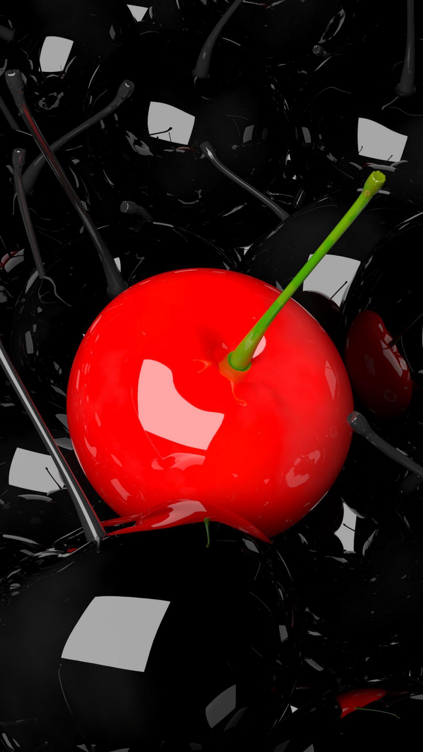 1350x2400 Wallpaper cherry, berry, 3d, red, black