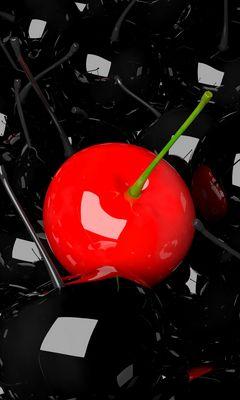240x400 Wallpaper cherry, berry, 3d, red, black