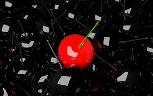 Preview wallpaper cherry, berry, 3d, red, black