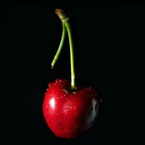 Preview wallpaper cherry, drops, red, fruit
