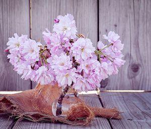 Preview wallpaper cherry, flowers, bouquet, vase