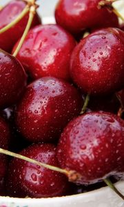 Preview wallpaper cherry, plate, berries, ripe