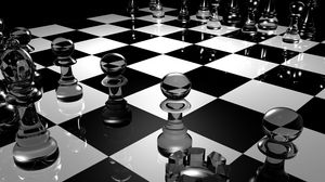 Preview wallpaper chess, board, glass, black white, surface