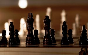 Preview wallpaper chess, board, pieces, king, queen, game