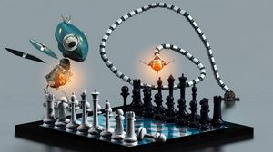 Preview wallpaper chess, board, robots, animals, party, game