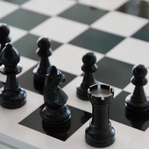 Preview wallpaper chess, chessboard, figure, bw