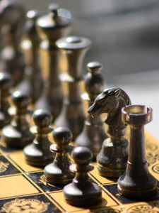 Preview wallpaper chess, game, board, pieces, metal