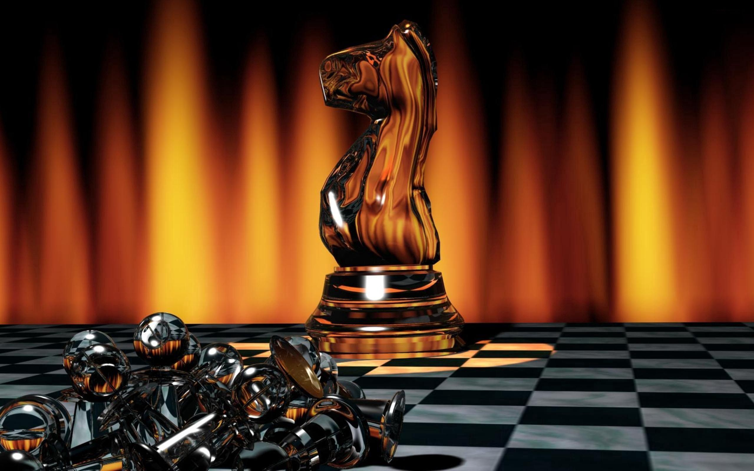 2560x1600 Wallpaper chess, game, board, chess pieces, light