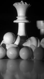 Preview wallpaper chess, figures, game, black and white, dark