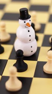 Preview wallpaper chess, snowman, figures, pawns, chess board, game