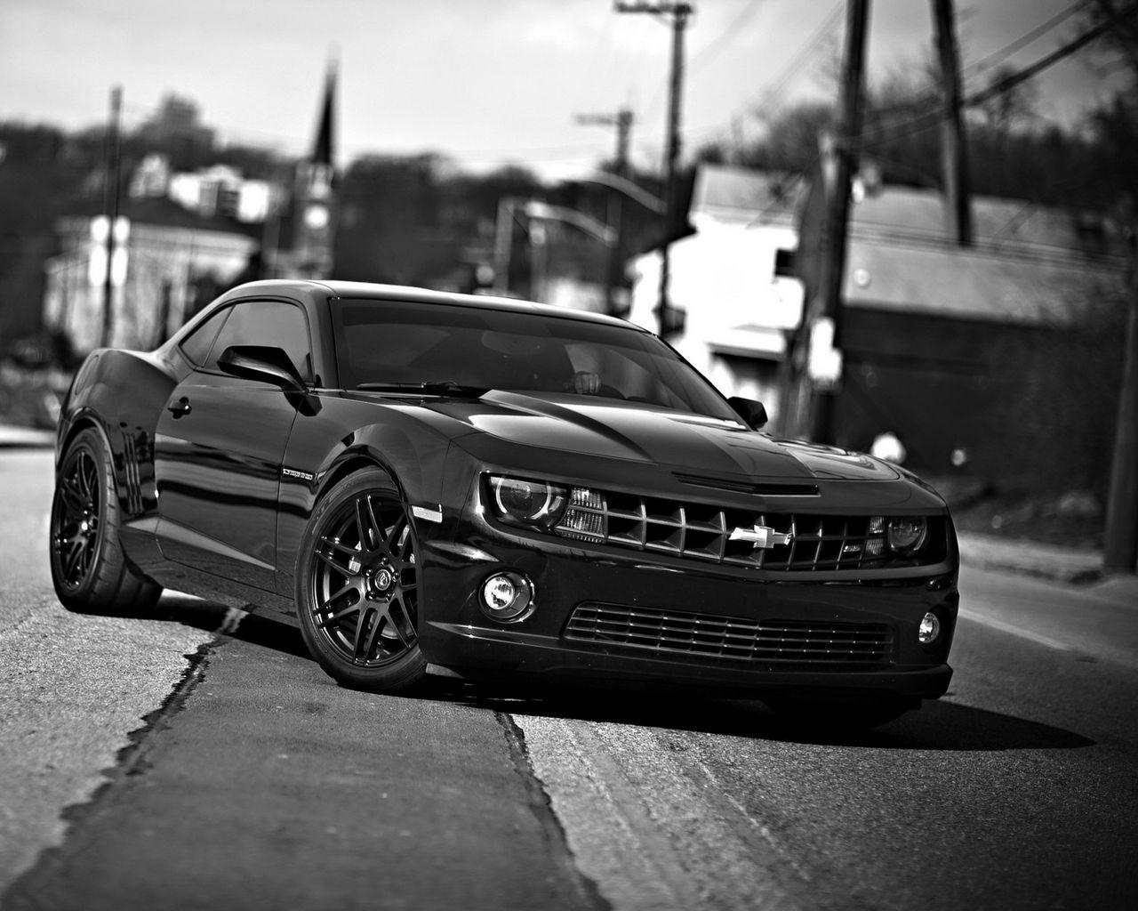 1280x1024 Wallpaper chevrolet camaro, chevrolet, cars, front view, black white