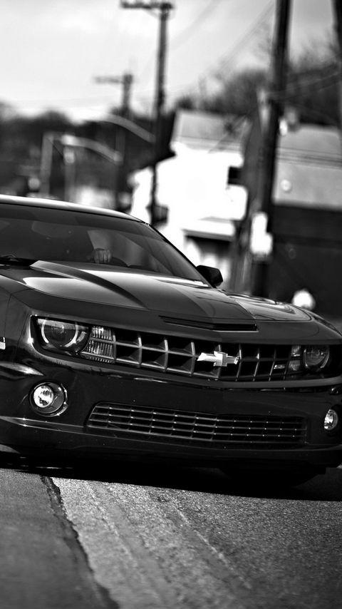 480x854 Wallpaper chevrolet camaro, chevrolet, cars, front view, black white
